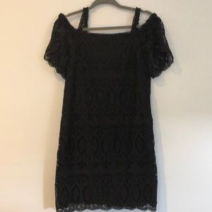 Beautiful Black Lace Crochet off shoulder dress